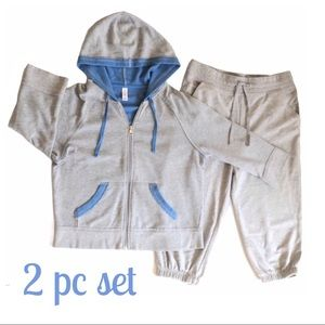 2 Pc Hoodie & Joggers Gray & Blue